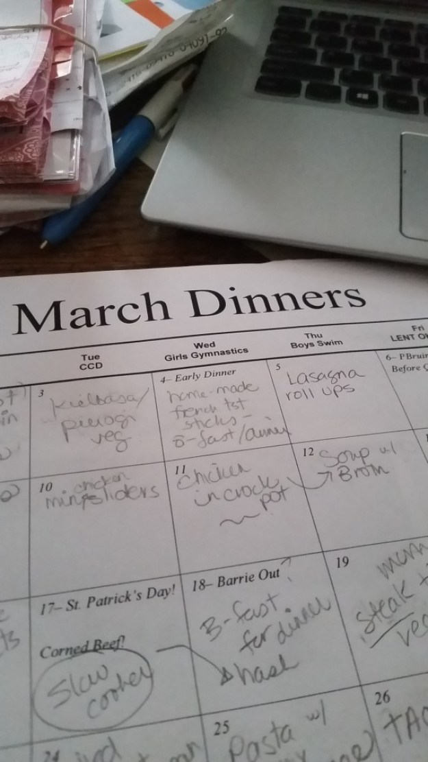 march menu for dinners