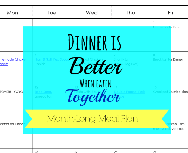 Month-long Menu Plan | Hardly A Goddess