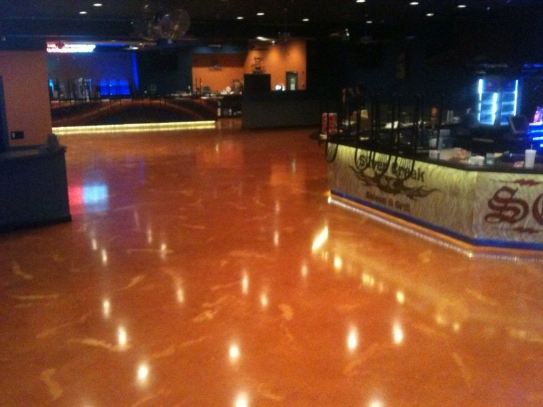 Portfolio of completed epoxy floor projects retail commercial for Commercial bar flooring