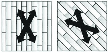 The 1st cut should be at a minimum 7-15 degree angle to the length of the boards.