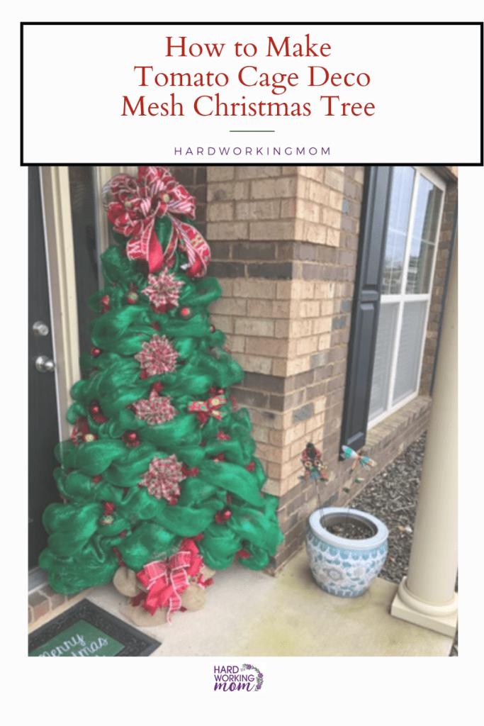 DIY tomato cage christmas tree with mesh