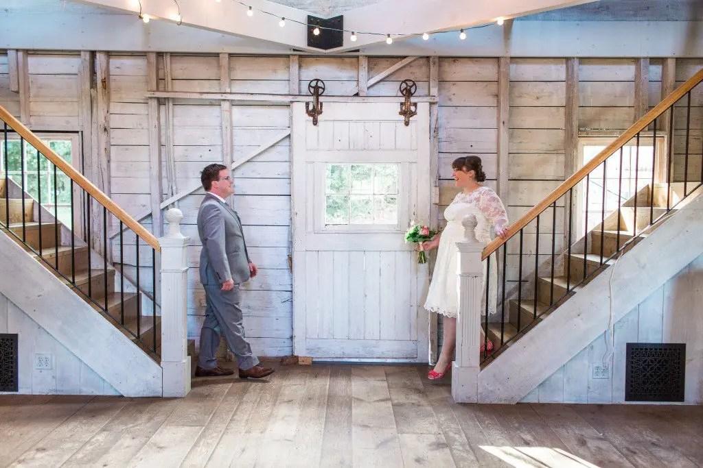 Short dress red shoes whitewashed wedding barn