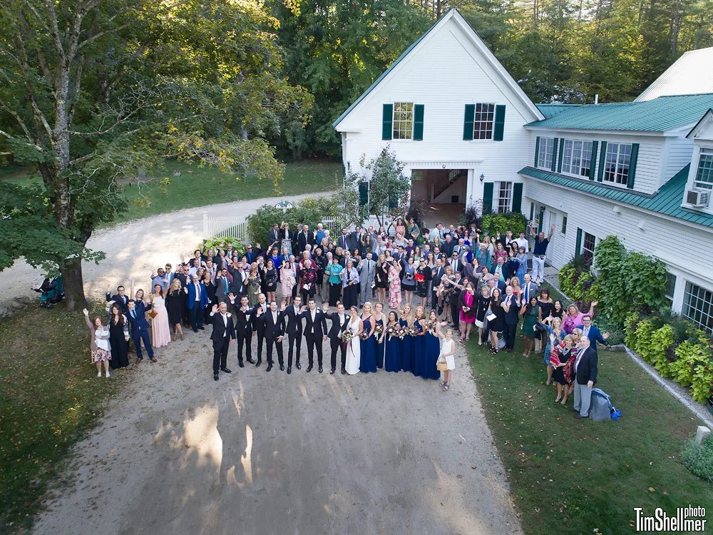 Drone phot at Hardy Farm Fall wedding