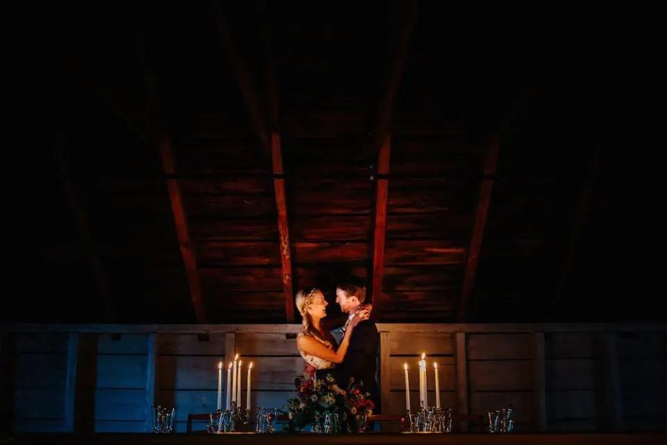 Romantic candlelit december wedding