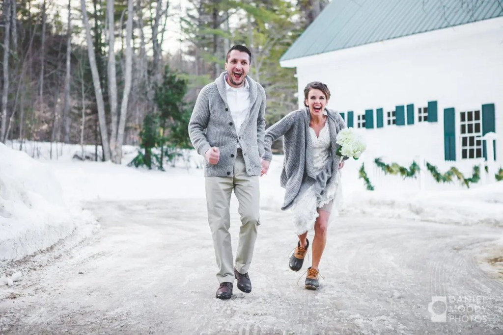 Happy Maine winter wedding couple