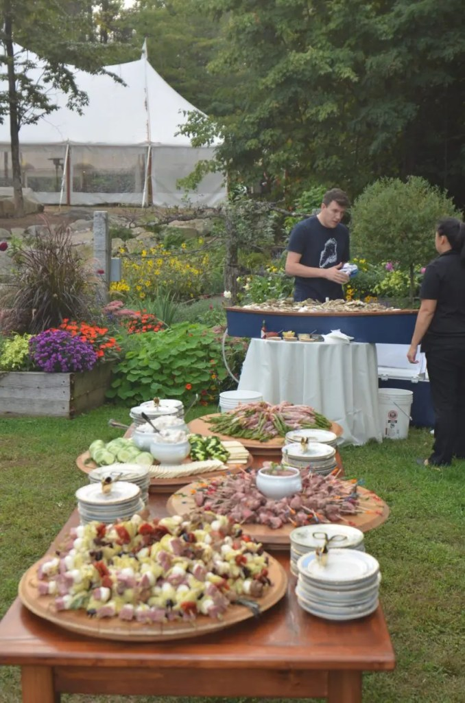 Grazing tables and oyster shucking in the garden