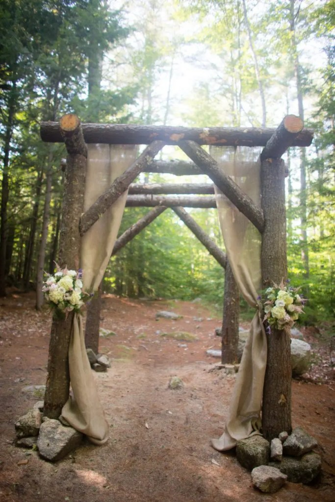 neautral draping on woodland chapel