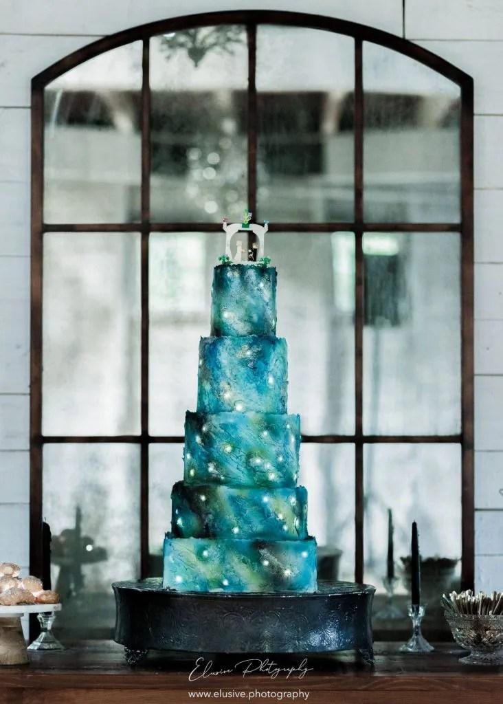 Blue Night Sky Wedding Cake