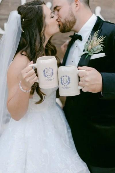 Beer stein wedding kiss