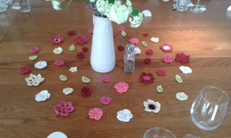 The flowers arranged on the table