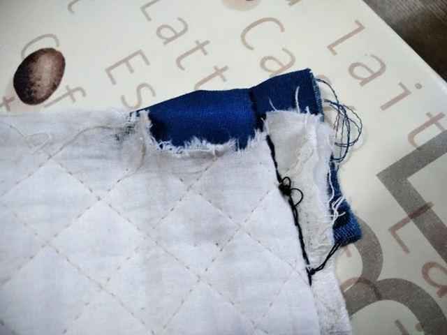 レッスンバッグの両端 返し縫