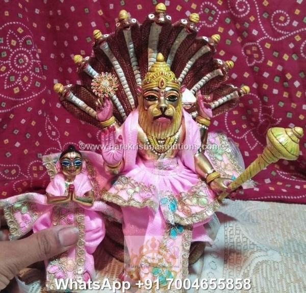 Prahalad Narasimha Dev 10 inches-Painted-Pink Dress 7
