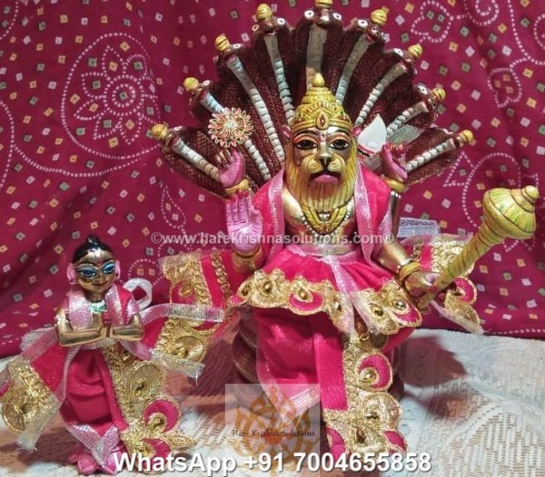 Prahalad Narasimha Dev 10 inches-Painted-Red Dress 3