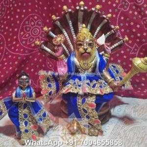 Prahalad Narasimha Dev 10 inches-Painted-Blue Dress 1