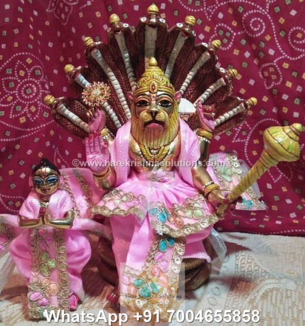 Prahalad Narasimha Dev 10 inches-Painted-Pink Dress 6