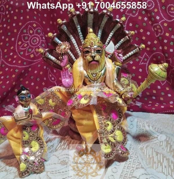 Prahalad Narasimha Dev 10 inches-Painted-Yellow Dress 2