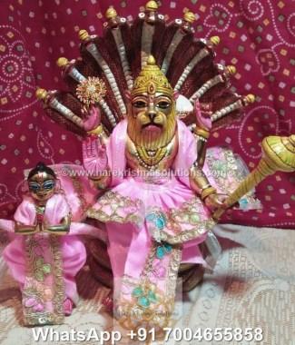 Prahalad Narasimha Dev 10 inches-Painted-Pink Dress 1