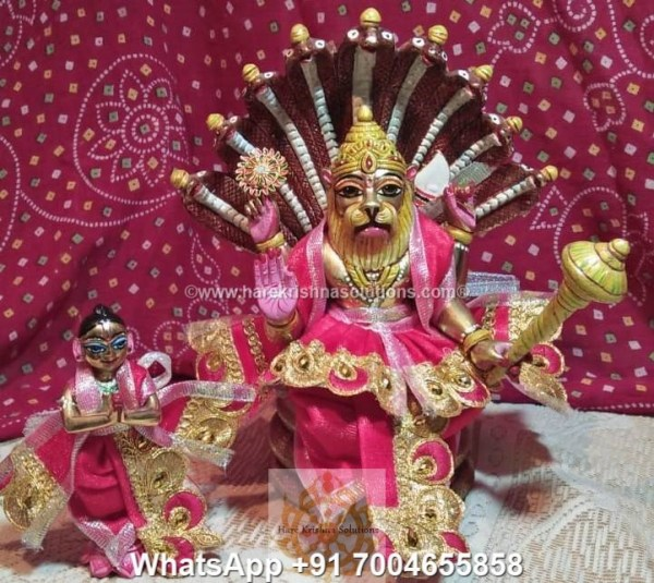 Prahalad Narasimha Dev 10 inches-Painted-Red Dress 1