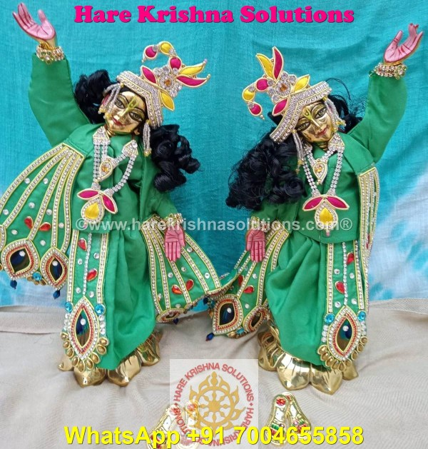 Gaura Nitai 12 SPL inches Light Green Dress (4)