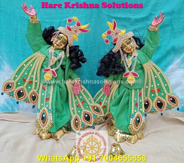 Gaura Nitai 12 SPL inches Light Green Dress (5)