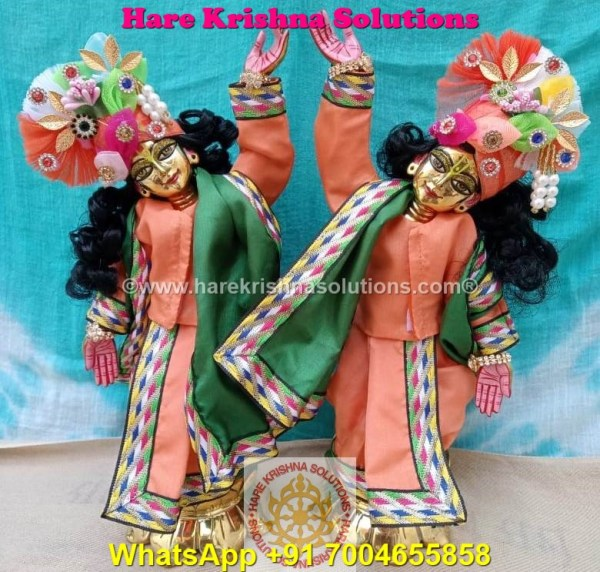Gaura Nitai 12 SPL inches Orange Green Dress (2)