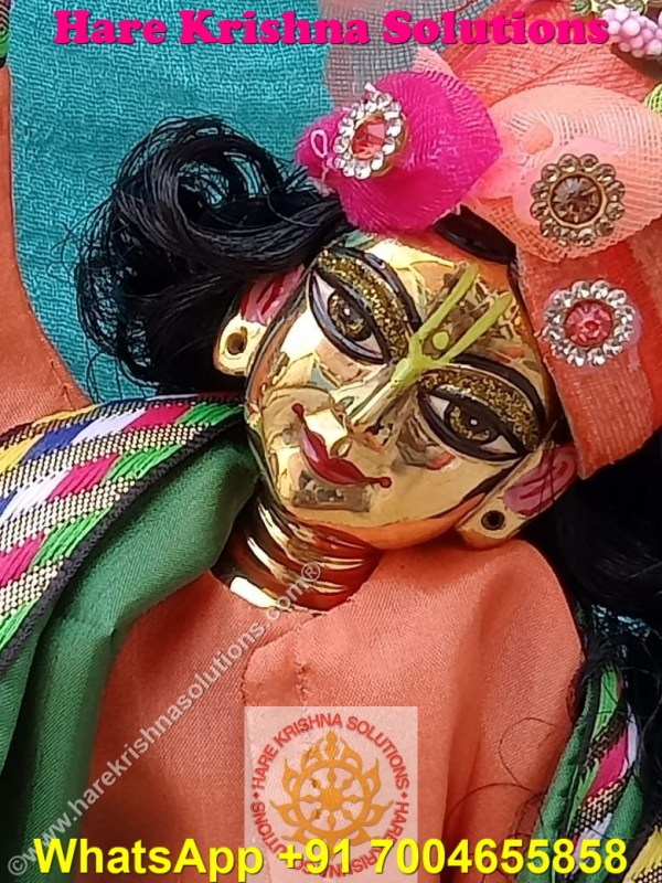 Gaura Nitai 12 SPL inches Orange Green Dress (3)