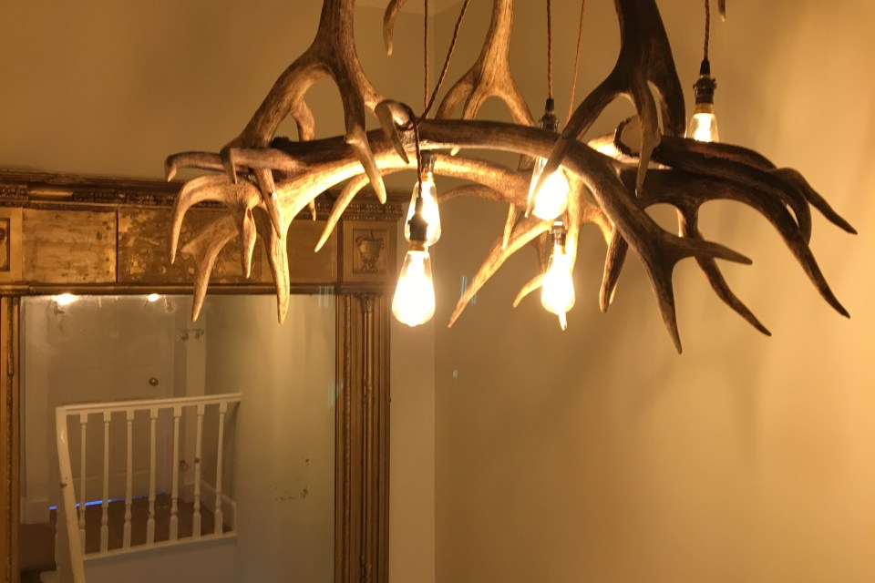 Oak House deer chandelier landing
