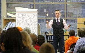 TEENAGE MATH WHIZ ENTERTAINS CROWD AT ABINGDON LIBRARY