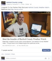 Congrats To Our Partner Pete Rost and Harford County Weather Watch
