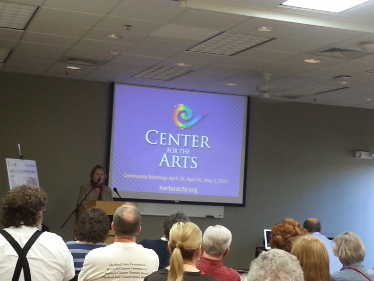 Center for the Arts CEO Kathy Smith leads the discussion on updates about the Center for the Arts during an April community meeting.