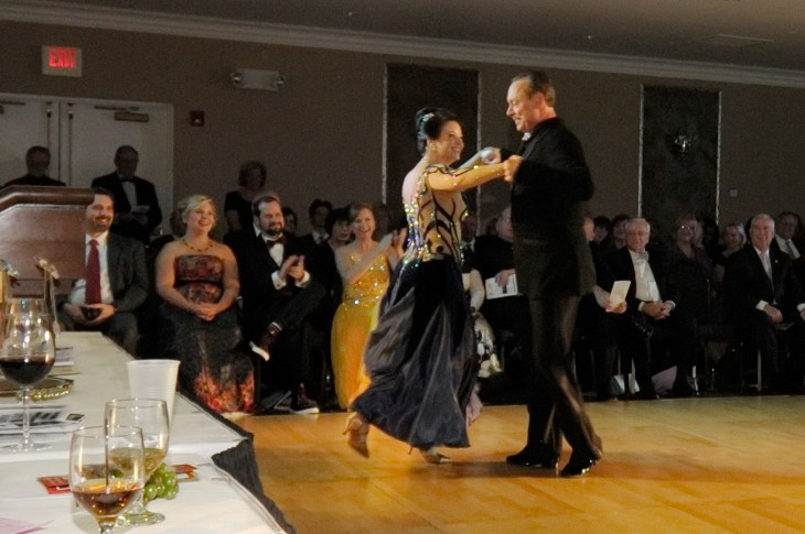 """""""Celebrity"""" dancer Mary Ann Bogarty of Harford Bank shows off her moves in the 2014 Dancing for the Arts amateur ballroom competition."""