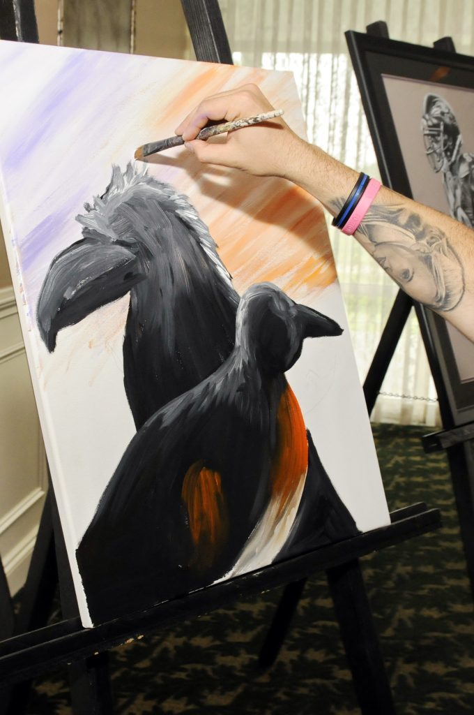Artist Shawn Forton will be creating sports-themed artwork live at the Harford Family House Birds' Ball Gala on August 29.
