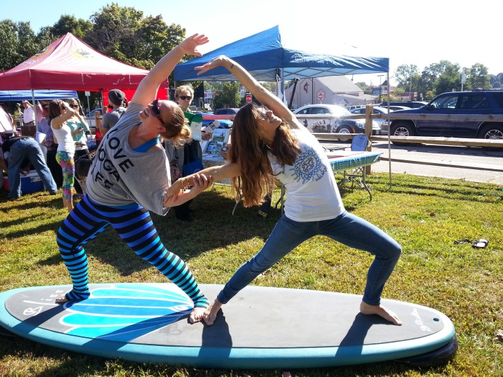 Paddleboard yoga was one of the demonstrated exercises at Healthy Harford Day 2014.