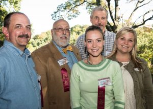 Some of the winners in the Center for the Arts Plein Air Art Festival: (left to right) Greg Johannesen, who earned second place; Bruno Baran, judge; Alison Leigh Menke, who earned first place; (back) artist Leo Kahl, who won Artists' Choice and People's Choice Awards; and Laura Musser, Center for the Arts Board Member. Not pictured is John Slivjak, third place award winner. Photo Credit: Bill Garvin, BG Photos