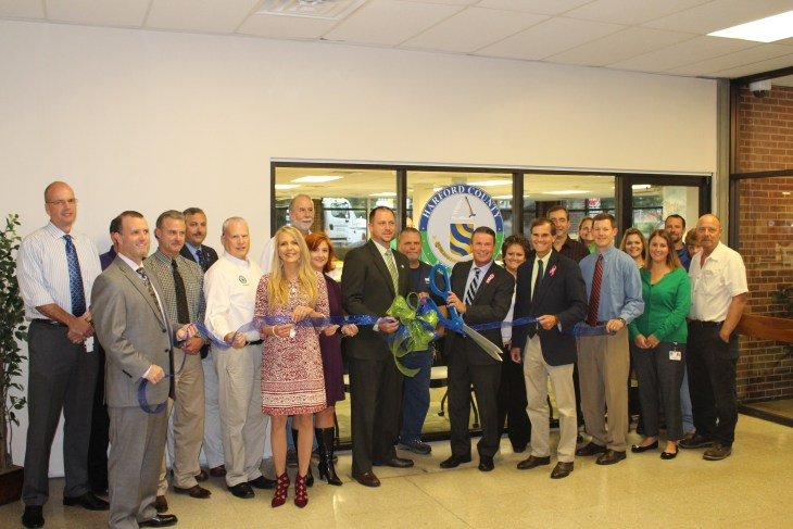 At a ceremonial ribbon-cutting on Oct. 2, Harford County Executive Barry Glassman thanked county employees and contractors who helped open the county's new Permit Center on time and within budget. The Permit Center streamlines applications for everything from dog licenses to building permits in a new location on the first floor of the county's Administrative Office Building in Bel Air.  As part of the Glassman administration's overall plans to save money and optimize the use of county-owned facilities, the Center will be paid for with savings on lease payments.