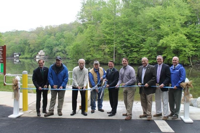 Pictured from left: Harford County Director of Administration Billy Boniface; Arthur Mansberger's family members Glenn Mansberger, Frank Schmitz, and A. Glenn Mansberger; County Executive Barry Glassman; County Councilmen Chad Shrodes and Patrick Vincenti; Acting Director of Parks & Rec. Paul Magness, and Mark O'Malley, boating services director from the Maryland Department of Natural Resources