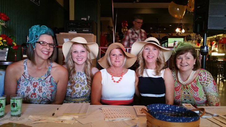 Enjoying the Harford County Bar Foundation's  2nd Annual Run for the Roses: A Kentucky Derby Party on May 7 were foundation staff members Sarah Bacon, program specialist;  McKenzie Miller, program coordinator; Dena McIlhenney, administrative assistant; Jennifer Vido, program manager; and Nancy Mahoney, executive director. (Photo Courtesy of Barbara Ogden)
