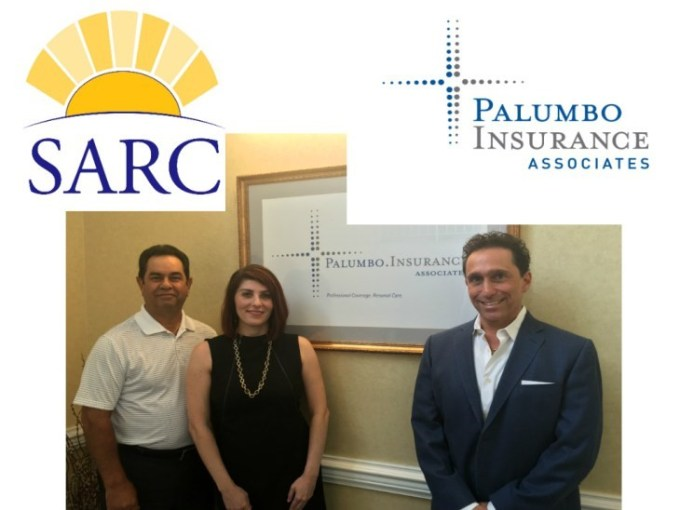 Pictured left to right: Tony Palumbo, President and CEO of Palumbo Insurance Associates, Luisa Caiazzo, CEO of SARC, and Elio Scaccio who nominated SARC to receive the award.