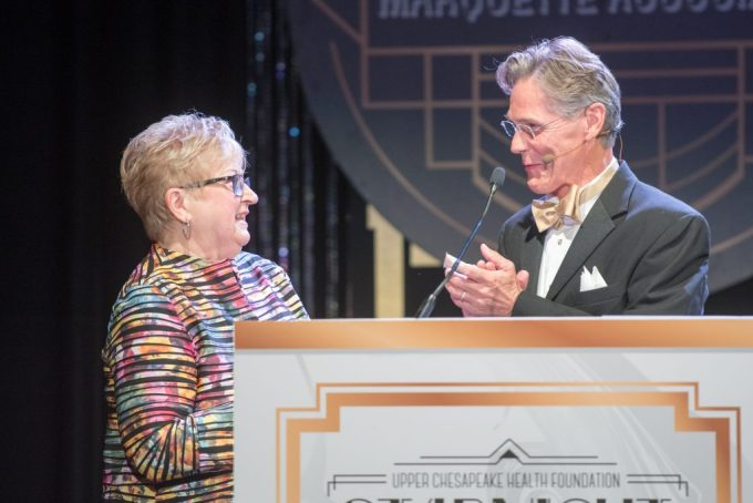 Lyle Sheldon, president/CEO of University of Maryland Upper Chesapeake Health, presents the inaugural Katherine (Kitty) Endslow Pickett Cura Personalis Award to Kitty Endslow Pickett at the 2016 Starnight Gala benefiting Cancer LifeNet at the Patricia D. and M. Scot Kaufman Cancer Center.  (Photo by Edwin Remsberg)