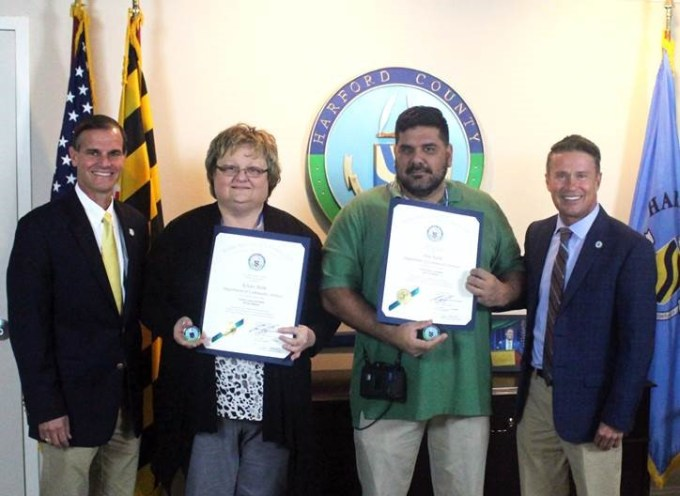 Pictured from left: Harford County Director of Administration Billy Boniface, Kristy Heim, Dan Funk, County Executive Barry Glassman