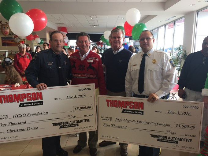 From left to right: Sheriff Jeff Gahler; Ron Filling, General Manager of Thompson Automotive; Fred Anderson, Dealer Partner of Thompson Automotive; Jason Freund, Assistant Fire Chief of Joppa-Magnolia Volunteer Fire Company
