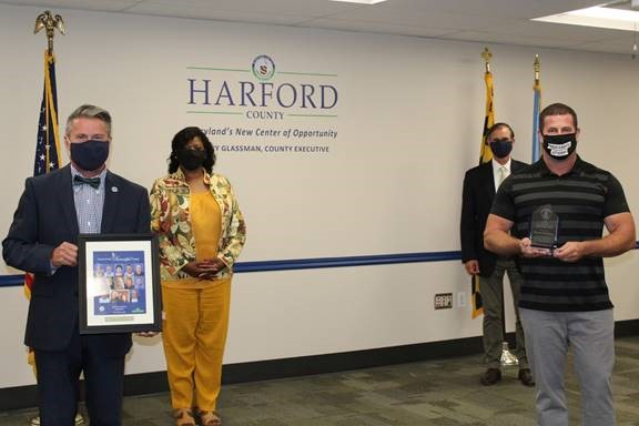 Pictured from left: County Executive Barry Glassman; Deputy Director of Community Services Sylvia Bryant; Chief Advisor Billy Boniface; Daniel McGhee, Shining Light Award winner.
