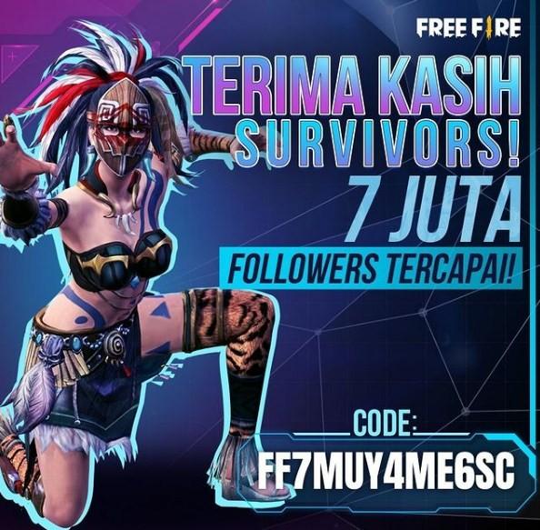 Kode Redeem FF 7M Follower IG FF7MUY4ME6SC
