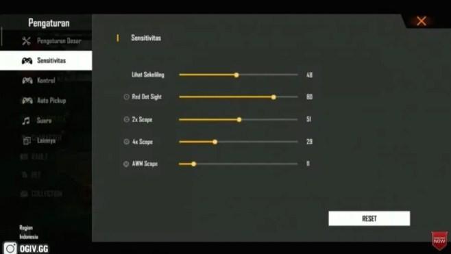 Sensitivitas FF Auto Headshot Xiaomi