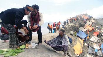 Upacara ritual Yadnya Kasada di Gunung Bromo