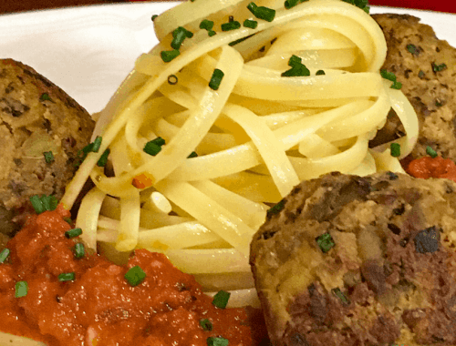 aubiballs with pasta