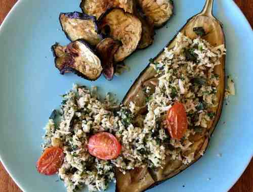 roasted aubergine and cauliflower rice