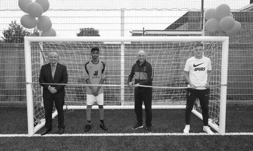 Players past and present open new football pitch in the local community