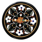 Black Marble Coffee Table Top Multi Stones Floral Inlay Home Decor Gift
