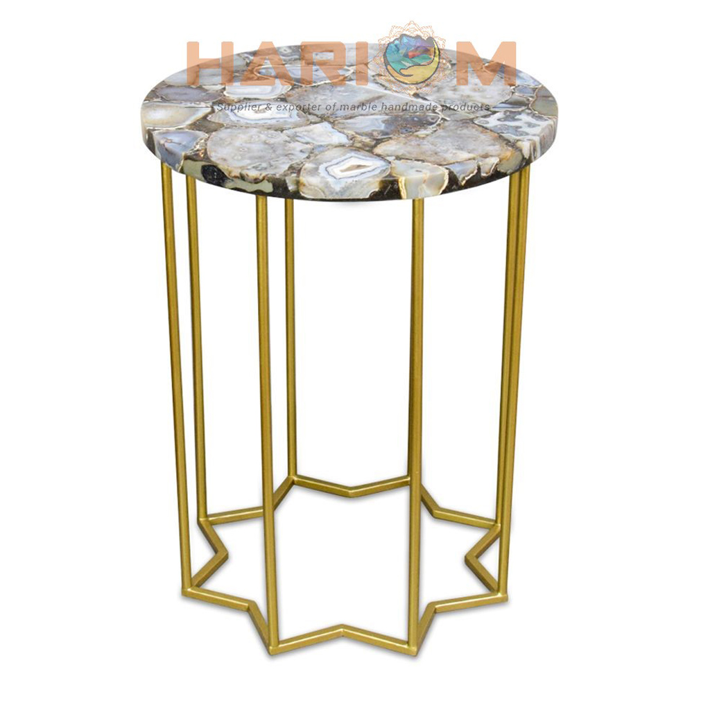 round agate coffee table top decorative furniture patio decors